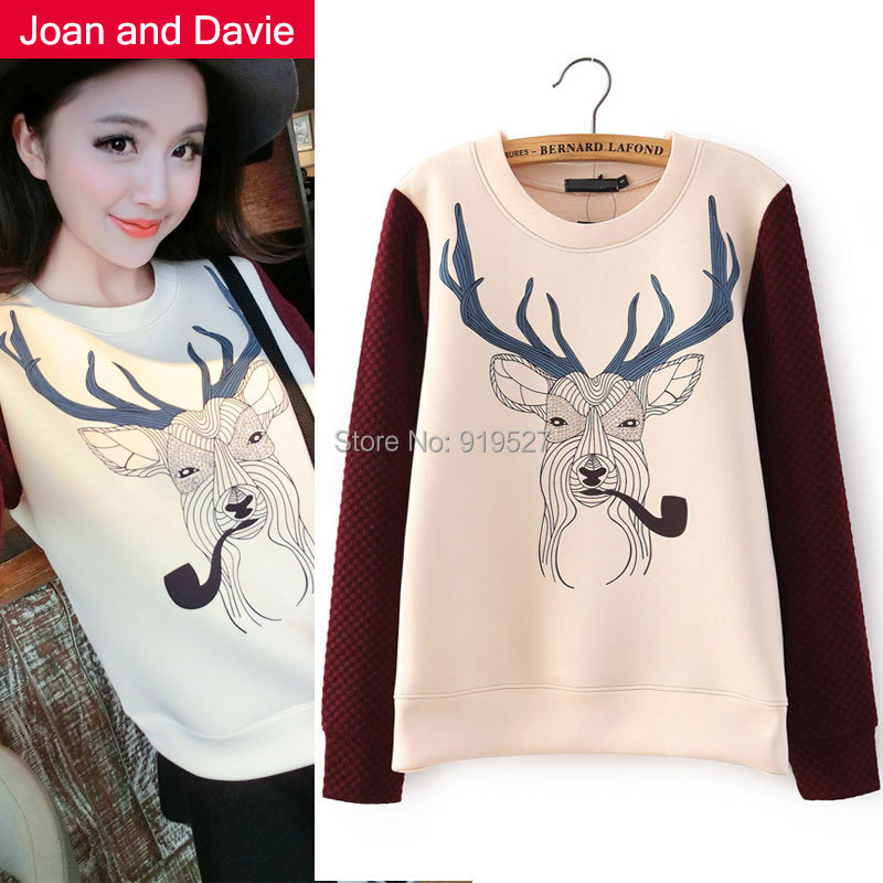 2015 Spring / autumn new fashion women's clothing print mi-lu tops long sleeve Sweatshirts loose pullovers - Joan and Davie store