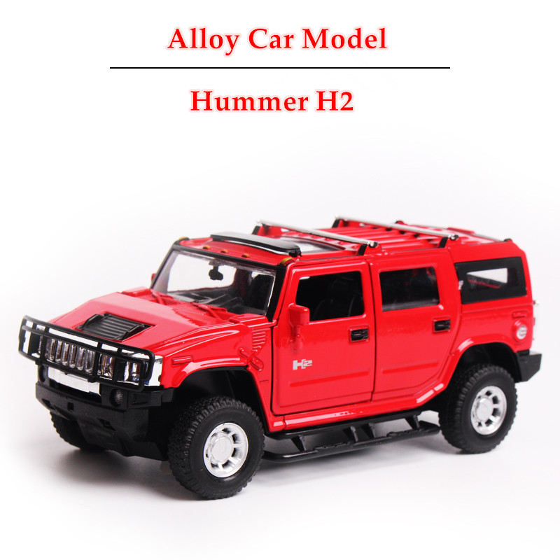 3 Colors Scale Models Car Hummer H2 Diecast model car 1:32 Sound & Light Pull Back Miniature Car toys Gift Box Set for Boy(China (Mainland))