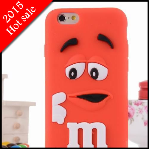 Hot sale free shipping new arrive MM chocolate candy rubber 3d cartoon soft case for apple IPhone 6 plus 5.5 case covers(China (Mainland))