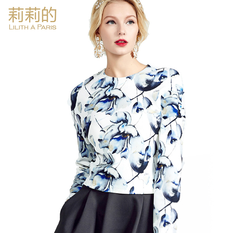 2016 spring print floral women 39 s shirt fashion loose for Womens white shirts high quality