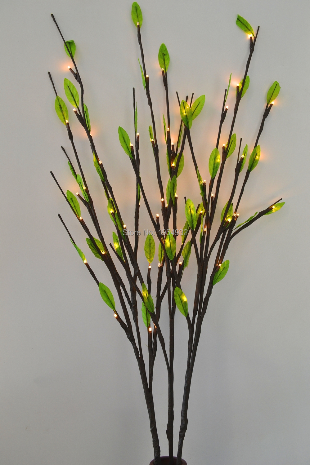 """LED Battery Branch Light 40"""" 60LED with Green Leaves Decoration 3 sub-branches Vase Flower decoration branch twig light(China (Mainland))"""