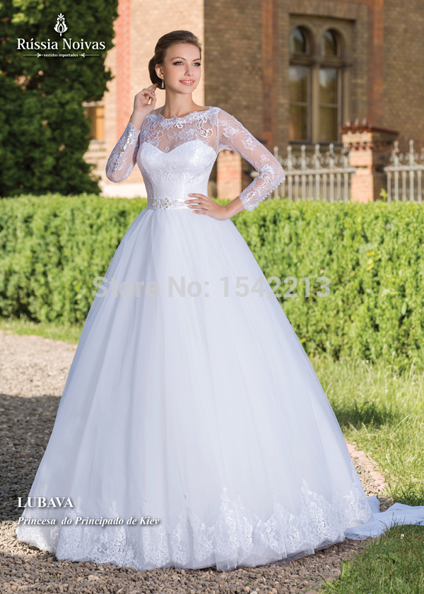 Best selling luxury beaded lace ball gown wedding dress for Long sleeve ball gown wedding dress
