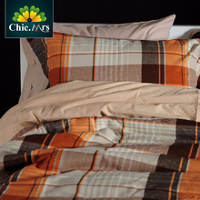 Strip Vintage Orange Plaid King Queen Egyptian Cotton Bedding Set 2016 NewTop Quality Home Bed Sets Bed sheet Duvet cover 4pcs(China (Mainland))