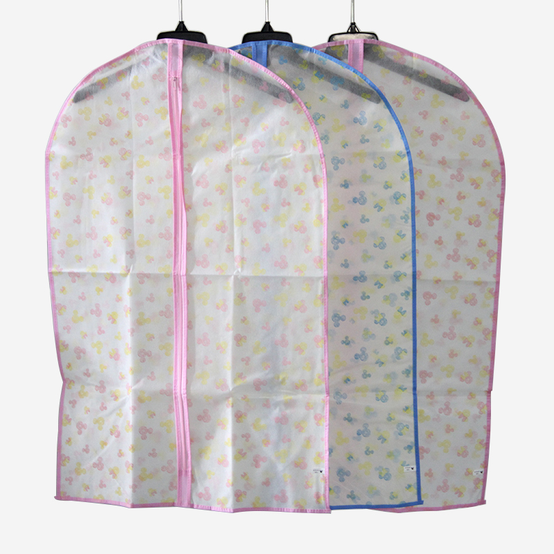 10Y47282 88*56cm random color clothes can be washed Non-Woven cloth dust cover suit cover long coat hood hang the bag dust bag(China (Mainland))