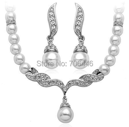 Silver Plated WHITE Faux Pearl Rhinestone Crystal Bridal Necklace earrings Jewelry Set - Yiwu Liangqian Accessories Firm (Mini Order>$8 store)