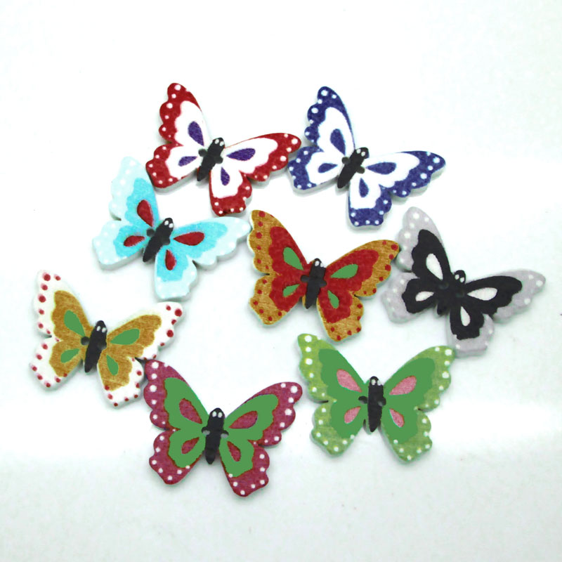 New Arrival 24x18mm 50pcs Mixed Color Random Butterfly Wooden Buttons Two Holes Sewing Craft Scrapbooking Garment Accessories(China (Mainland))
