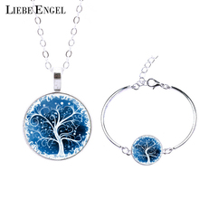 Life Tree Statement Necklace Bangles Bracelets Jewelry Sets Vintage Silver Color Jewelry for Women Men Christmas Gift 2015(China (Mainland))