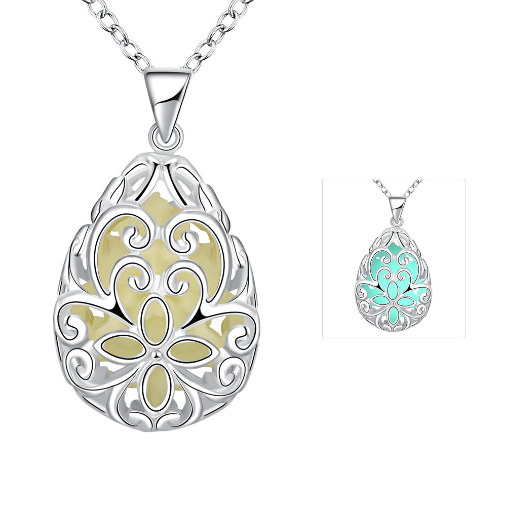 Lureme Silver Plated Jewelry Glow in the Dark Luminous Charm Teardrop Flower Pendant Necklace for font
