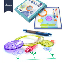 Mideer Children Drawing Toys The Art and Science of Spirals Art Games Pens Gears Book Templates The Ulitimate Spiral Making Kids(China (Mainland))
