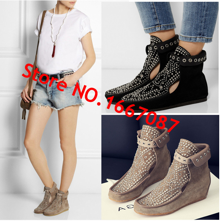 2015 Fashion Casual Style  Platform Shoes Rhinestone Women Flats Real Leather Shoes Woman Height Increasing Ankle Booties<br><br>Aliexpress