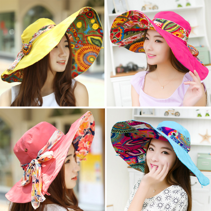 Cool!Fashion Bohemian Style High Quality Cloth Summer Hat For Women Large Visors Sun Hat Beach Hat chapeu feminino(China (Mainland))