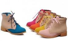Nuevo 2015 de cuero nobuck Martin botas con punta redonda cordón Color Block decoración Vintage marca nieve botas moda otoño Women Shoes(China (Mainland))