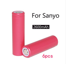 6pcs New 2015 Sanyo original 18650 lithium-ion battery 2600mAh UR18650ZY 3.7V battery free shipping