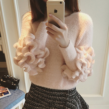 Christmas Sweater 2015 Winter Korean Cute Puff Sleeve Knitted Women Sweaters and Pullovers Knitwear White mme 2132(China (Mainland))