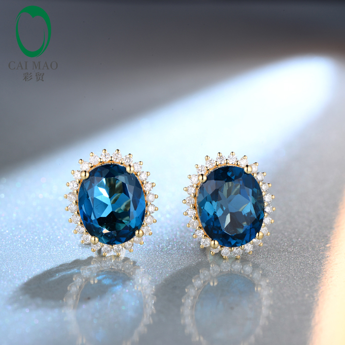 9x11mm Oval Cut 9.20ct Blue Topaz 14kt Yellow Gold Natural Diamond Stud Earrings Free shipping(China (Mainland))