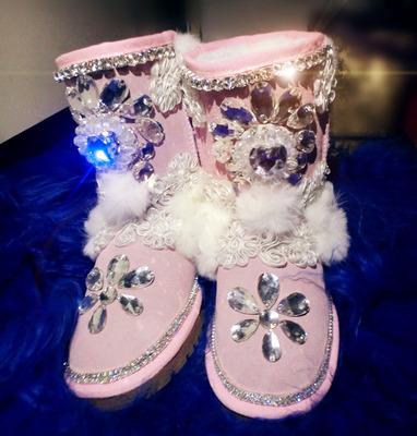Фотография Sweets ! handmade flower gem rhinestone beaded lace rabbit fur princess high cowhide female snow boots