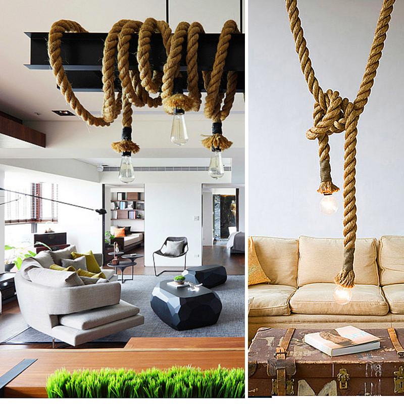 Фотография Personality hemp rope pendant light pendant light vintage american pendant light 2016 new handmade knitted living room lamp
