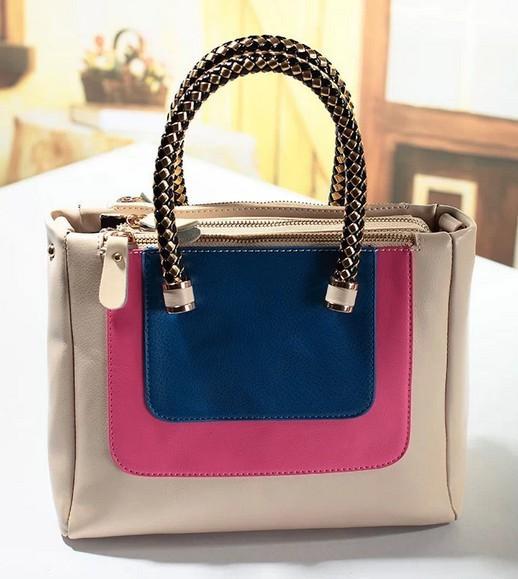 2015 New Fashion Style Women PU Leather Handbag Zipper Patchwork Tote Shoulder Bag Designal PU Leather Bag Women Work Handbag<br><br>Aliexpress