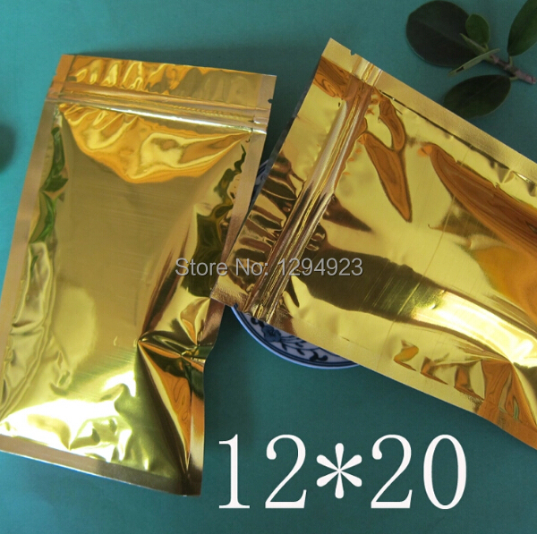 Hot Sale Gold aluminum foil bags, frozen food packaging gold ziplock bag Size 12*20CM free shipping(China (Mainland))