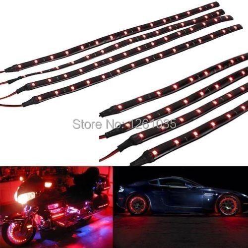 Wholesale 4 x 15 LED 30cm Car Motor Vehicle Flexible Waterproof Strip LED Lamp Light White/Red/Yellow/Green/Blue free shipping(China (Mainland))