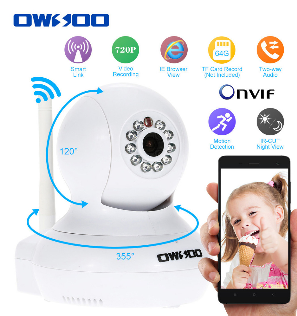 OWSOO HD 720P IP Camera Wifi Wireless P/T H.264 CCTV Security Camera IR Night Vision 2-way Audio Onvif IP Cam Support TF Card(China (Mainland))