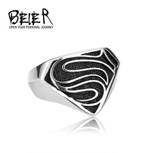 Cool Superman Logo S Ring 316L Stainless Steel Jewelry Gothic Jewelry for Man Black Silver Never Fade  BR8-116 US size(China (Mainland))