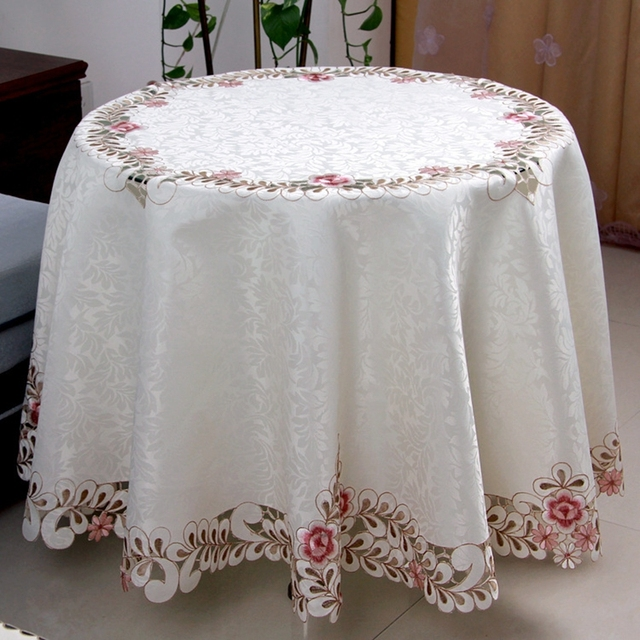 Hot Sale Round Elegant Polyester Satin Jacquard Embroidery Floral Tablecloth Embroidered Hand Cutwork Table Cloth Cover Towels