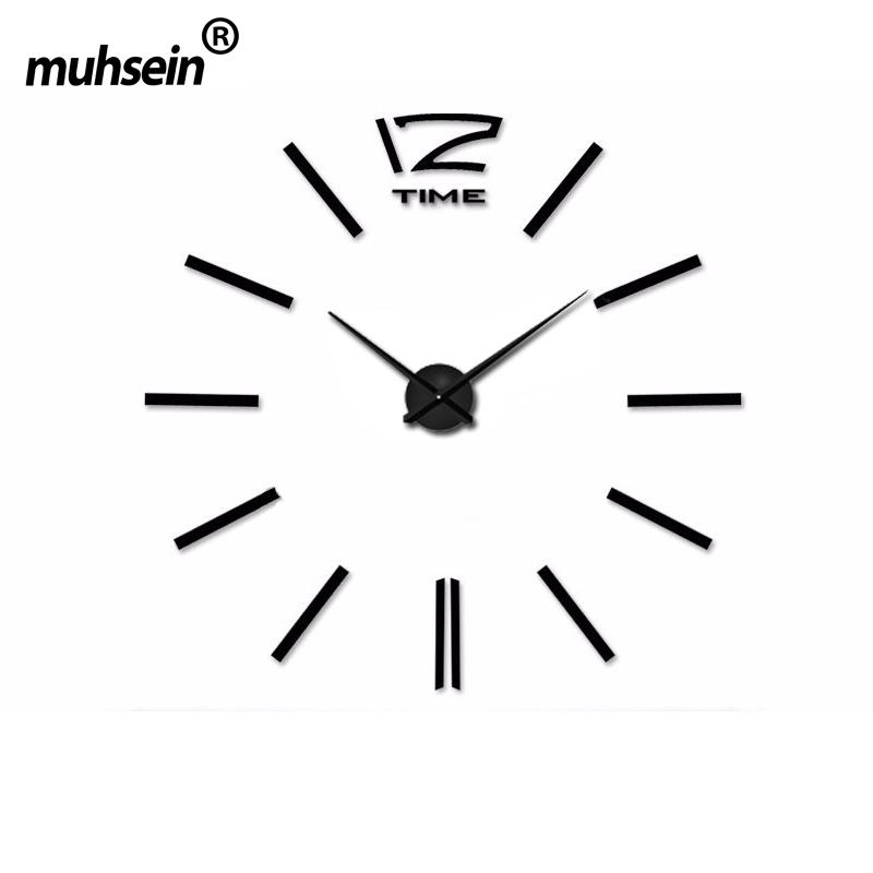 Metal+Eva+Acrylic muhsein 2016 New Free Shipping Fashion 3D Super Big size Mirror wall stickers DIY Wall clocks Home Decor()