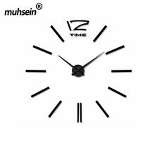 Metal+Eva+Acrylic muhsein 2016 New Free Shipping Fashion 3D Super Big size Mirror wall stickers  DIY Wall clocks Home Decor ()