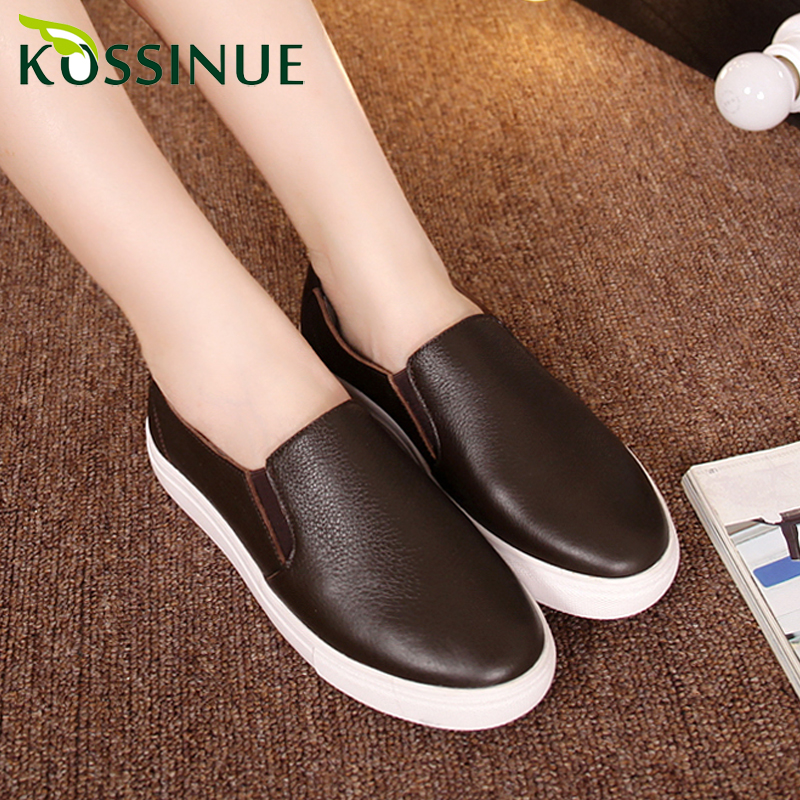 New women genuine leather platform shoes autumn women loafers leather shoes female casual flat heel single shoes women flats <br><br>Aliexpress