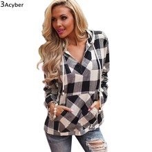 2016 spring Cotton Long Sleeve balck Red Checked Plaid Shirt Women Hoodie Casual Fit Blouse Plus Size Sweatshirt Top u2(China (Mainland))