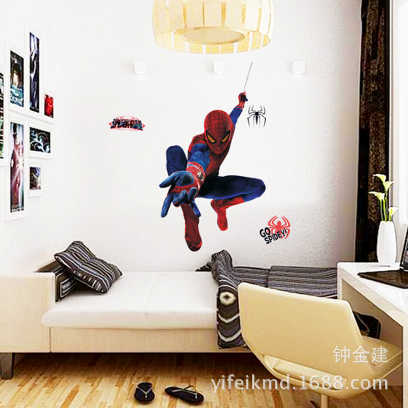 Factory direct wholesale trade of new children s room fashion decorative wall stickers paper amazing spider