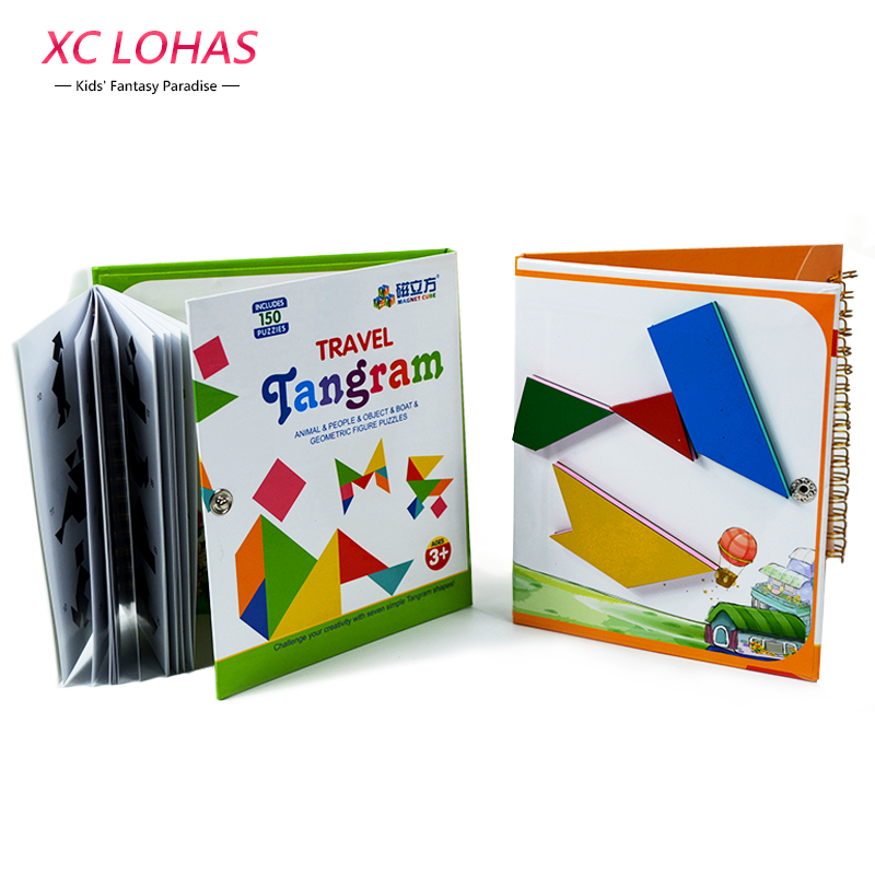 3 Types Magnetic Tangram Puzzle Jigsaw Montessori Educational Toy Puzzles For Children Brain Human Birthday Gifts IQ Kids Toys(China (Mainland))