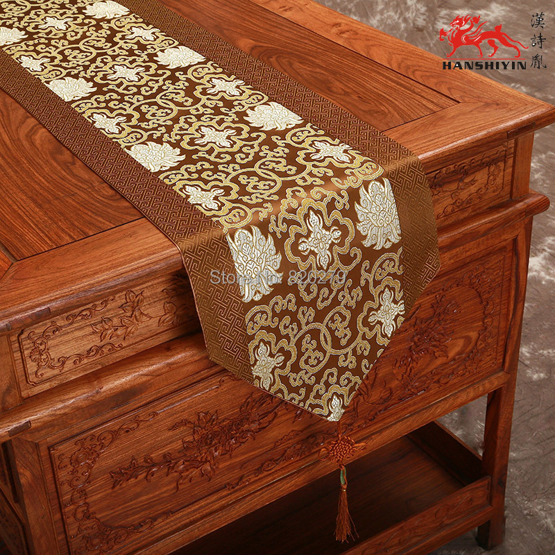 Gorgeous Patchwork Silk Brocade Holiday Dining Table Runners Chinese Knot Coffee Table Cloth