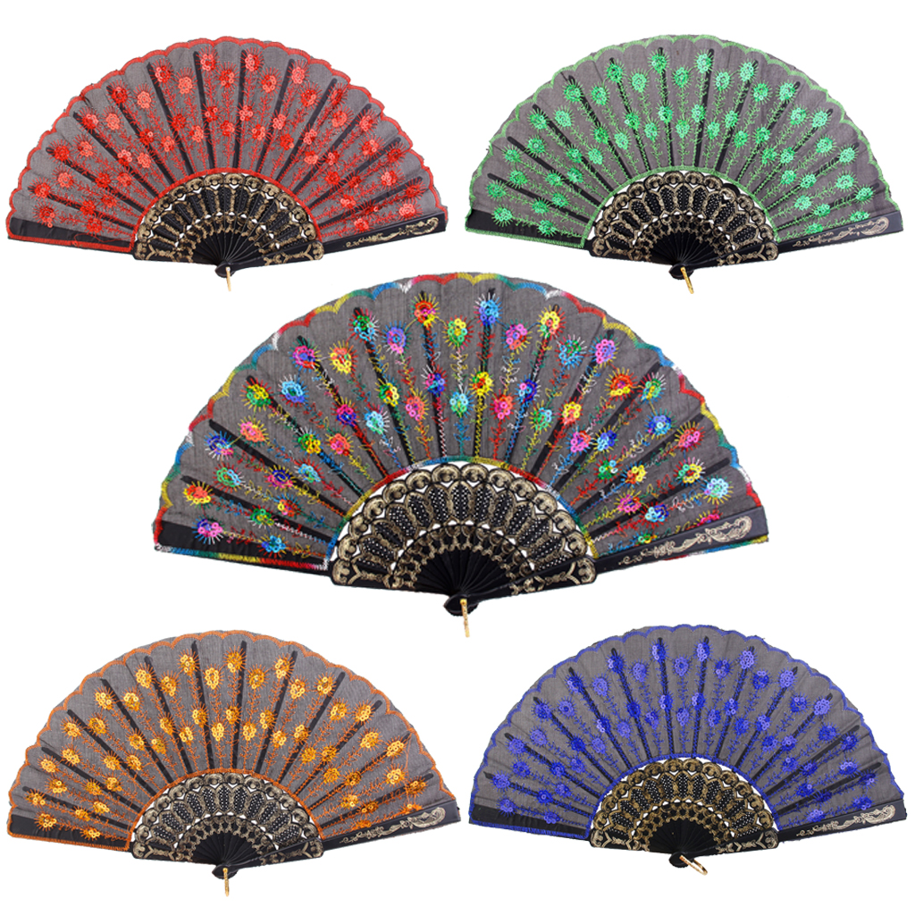 New Party Supplies Spanish Folding Hand Fan Silk Embroidered Sequin Wedding Dance Festival Party Favours Home Decoration Gift(China (Mainland))
