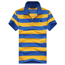 Man short-sleeved POLO shirt lapel striped cotton POLO shirt, casual loose large size M Polo shirt, 2016 new arrival men's 1166