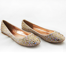 2016 new women flat shoes ballerina with bling rhinestones fashionable comfortable easy on and off size 36-41# free shipping!(China (Mainland))