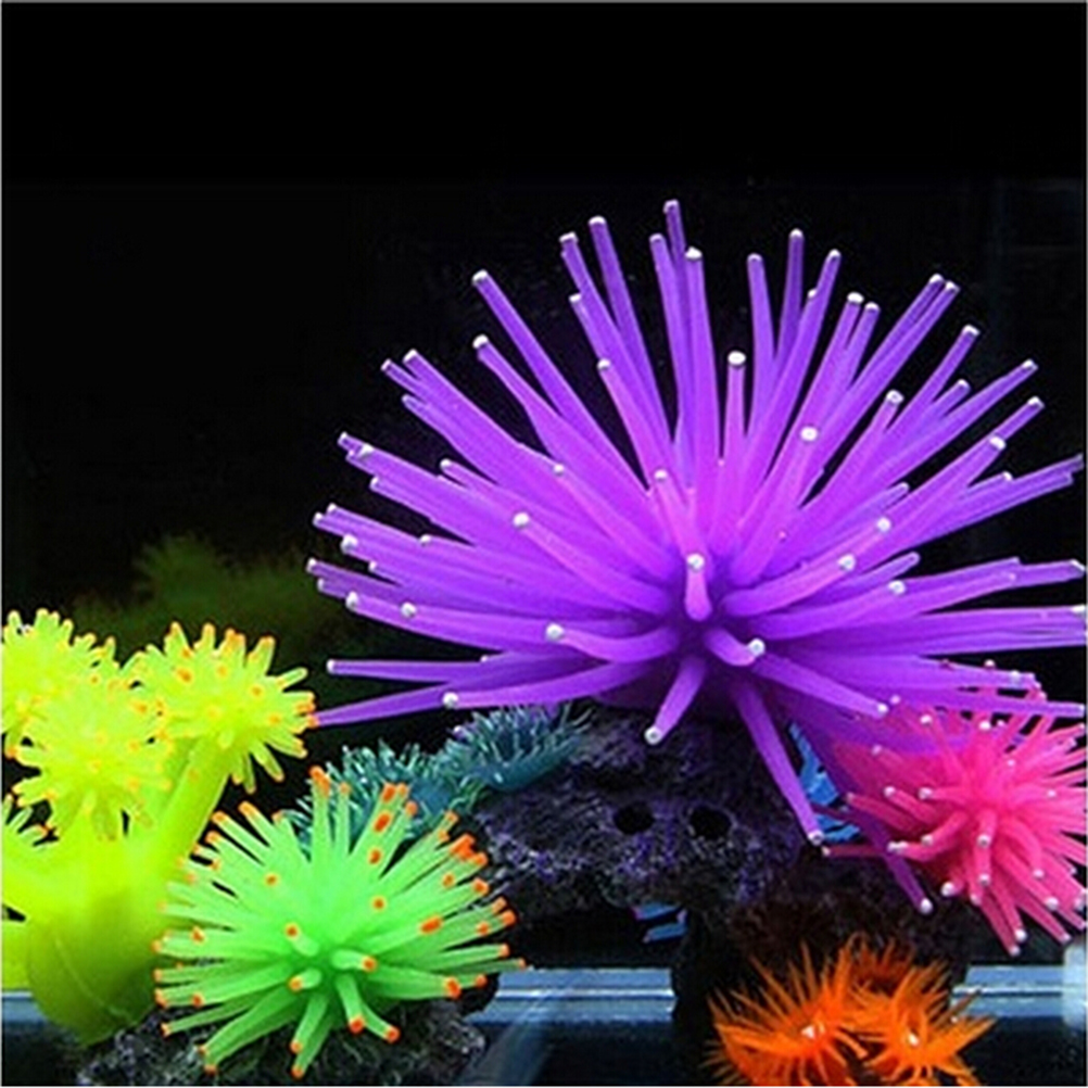 New 1PC Silicone Aquarium Fish Tank Artificial Coral Plant Underwater World Ornaments Decoration 6 Colors Available(China (Mainland))