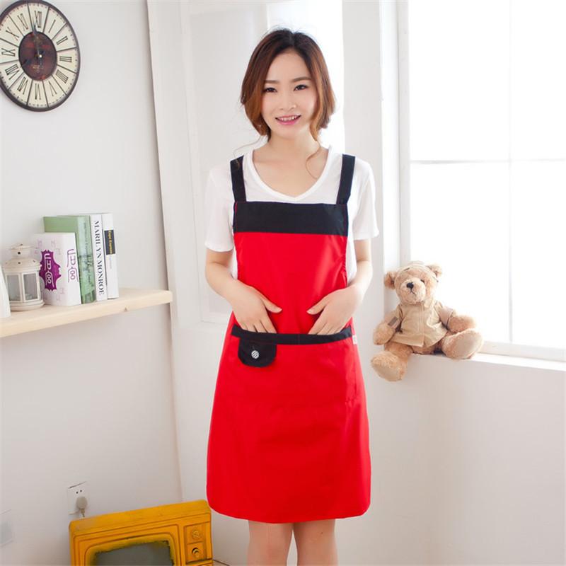 Pvc Waterproof Adjustable Apron Bib Uniform With 2 Pockets Hairdresser Kit Salon Hair Tool Chef Waiter Kitchen Cook Tool 6 Color(China (Mainland))