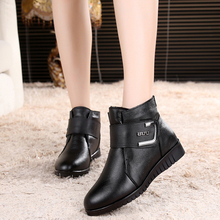 Buy Women Cotton shoes, middle-aged flat-bottomed Plus Velvet Short boots, Large Leather Warm Comfortable Mother Boots Size 61 61 for $38.74 in AliExpress store