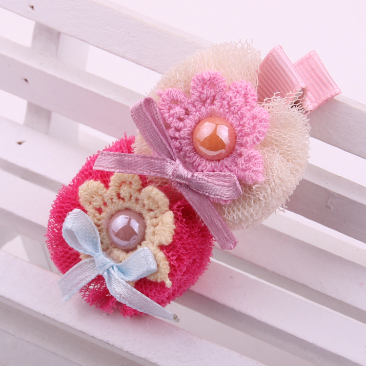 12pcs/lot hot sale fashion mesh &Lace ball design flower hair barrettes for baby girls cute two-floral ornaments hairpins(China (Mainland))