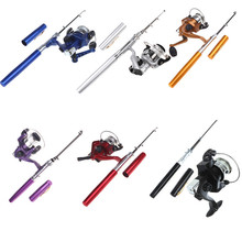 Free Shipping!6 Colors Portable Pesca Fishing Mini Aluminum Baitcasting Pocket Pen Fishing Rod Pole + Reel Carp Fishing