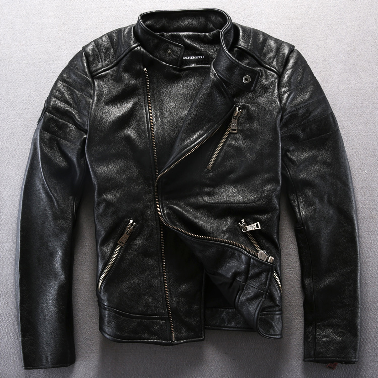 Stand collar short paragraph thickened black leather skin jackets rock motorcycle jacket oblique zipper T972Одежда и ак�е��уары<br><br><br>Aliexpress