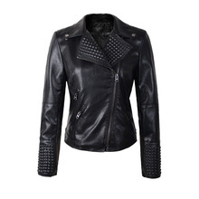2015 New Fashion Motorcycle PU Leather Jacket Women Coat Black Color Zipper Outerwear jacket coat HOT Winter and autunm(China (Mainland))