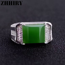 Man's ring Natural Jasper rings jade gem stone jade solid sterling silver gold plated men Jewelry(China (Mainland))