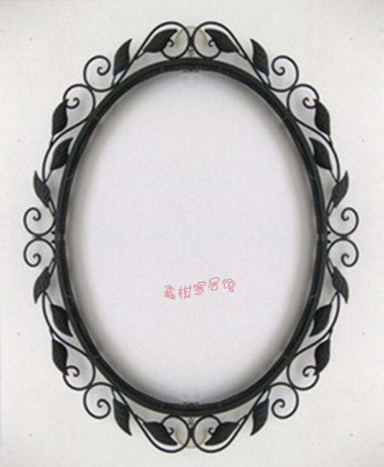 Brief fashion rustic wrought iron mirror picture frame frames wall bathroom mirror oval mirror(China (Mainland))