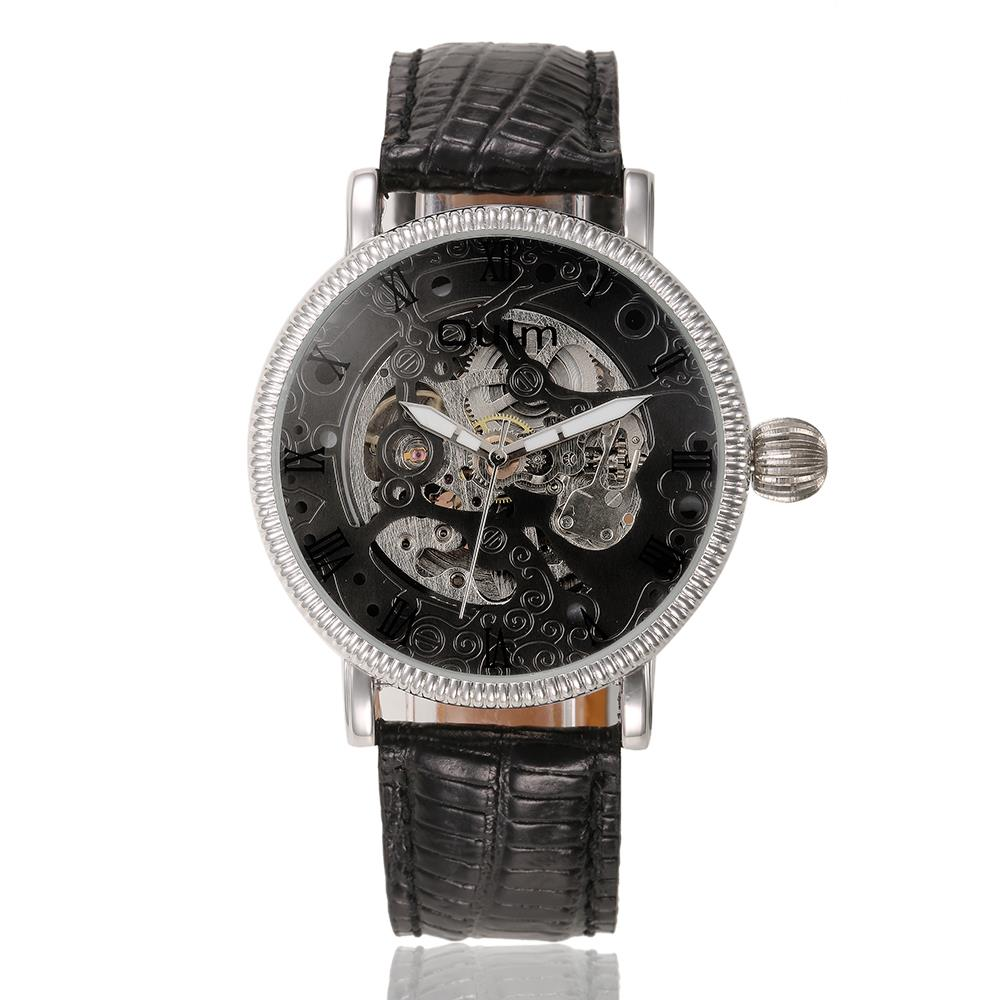 2016 Fashion Oulm Mans Sport Skeleton Watch Automatic Self-wind Leather Strap Wristwatch Military Hollow Business Watches OU37<br><br>Aliexpress