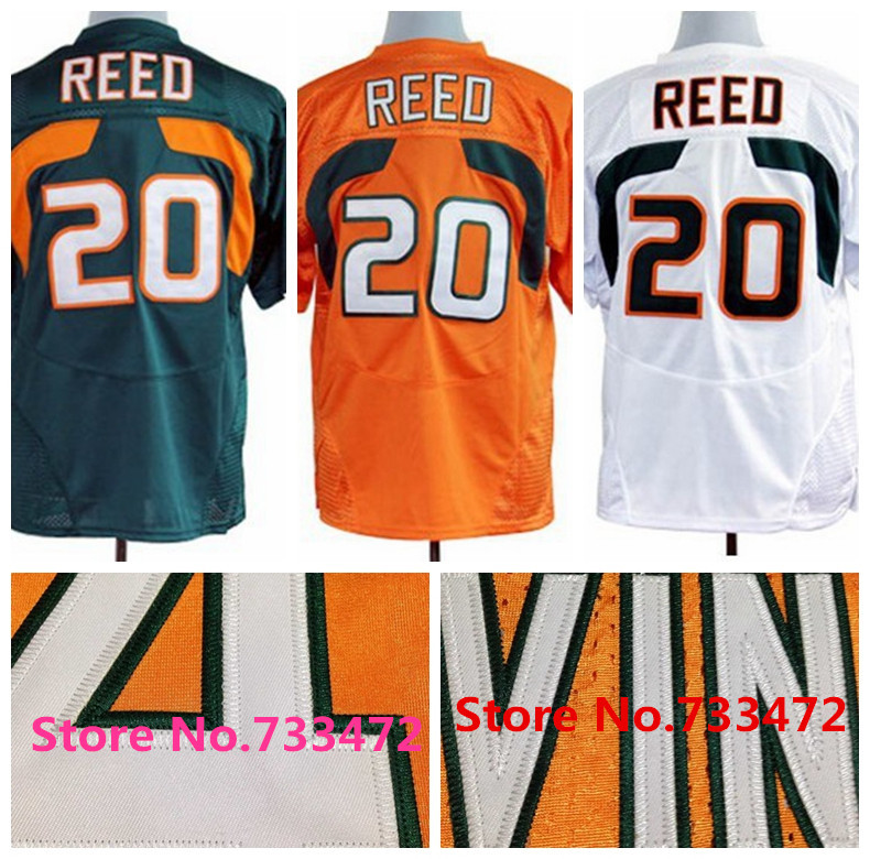 2016 Best Stitched Top Quality 20 Ed Reed Jersey White Green Orange College Football Sports Jersey Cheap Wholesale,Fast Shipping(China (Mainland))