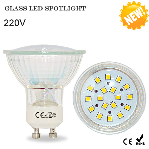 Foxanon Led Spotlight Light GU10 220V Mr16 12V 5W 2835 18Leds Lamps Glass Body GU 10 Spot Light Bulb Downlight Lighting(China (Mainland))