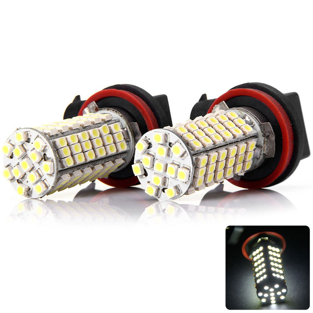 2 PCs 102 SMD-3528 LEDs 7W Car Forward Light Fog Lamp H8 H11 PGJ191 H9 White Light LED Light Bulbs Energy Saving LEDS 1120919(China (Mainland))